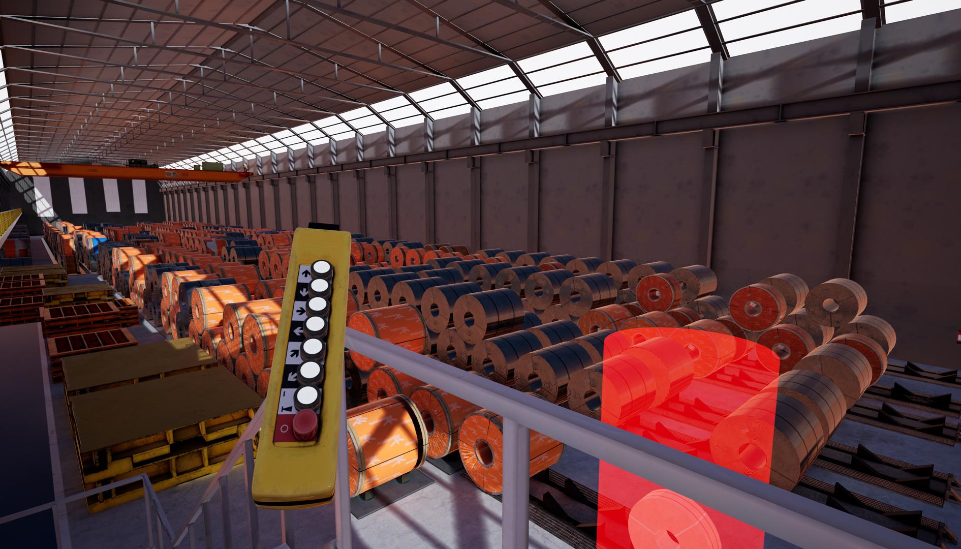 Simulador en realidad virtual de puente grúa con mando hecho en Unreal Engine 4 Vista general Vista desde escalera
